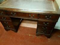 Office writing desk with leather top good condition