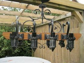 Italian Rustic Solid Oak and Wrought Iron Heavy Light