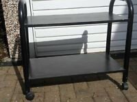 Black wood and metal trolley - suitable for TV or equipment shelving