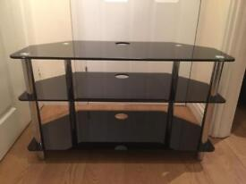 TV CABINET SHELVES BLACK GLASS USED CONDITION COLLECT ONLY COLLIER ROW ROMFORD RM5 DVD