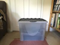 Large Plastic Boxes x 4 with Flip Lid and Ability to be Stacked - perfect condition, 70 L