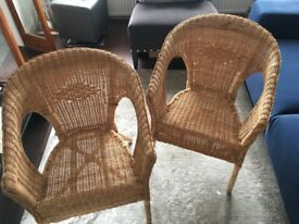 Beautiful Whicker Cane Chairs x 2