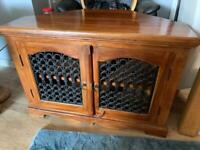 Heavy dark wood tv cabinet