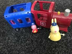 Peppa pig miss rabbit train with figures