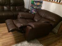 Leather reclining 3-seater sofa and reclining chair