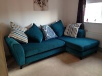 Corner sofa with matching cushions & storage pouffe (teal)