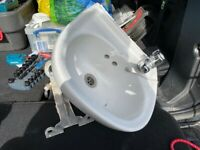 Small Wash Basin with chrome tap and bracket