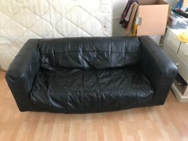 Comfy black leather sofa