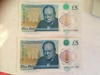 £5 notes x 3 AA serial codes