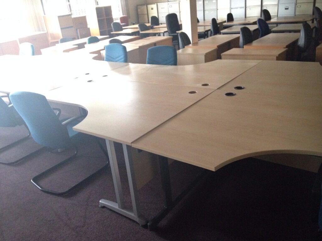 Large Pale Wood Curved Office Desks