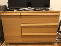 Ikea OPPLAND sideboard/chest of drawers in oak veneer, in perfect condition