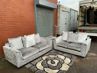 Pending delivery Gorgeous silver crushed velvet sofas 3&2 delivery 🚚 sofa suite couch furniture