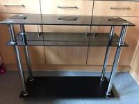 Black glass tv stand slim Shelf