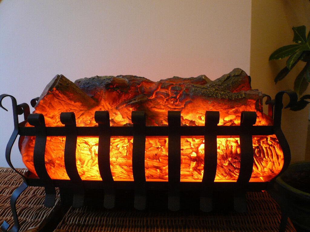 log effect electric fire basket with fan heater in tonbridge