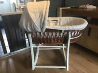 Gorgeous White Wicker Moses Basket & Stand