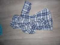 Blue and white checked dressing gown 2-3yrs