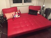 Design Sofa Bed - Leather red