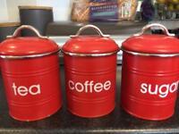 Tea coffee sugar metal pots