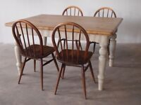 Vintage Antique Pine Farm Kitchen table Circa 1900 Ireland & Set of 4 1950's Ercol Dining Chairs