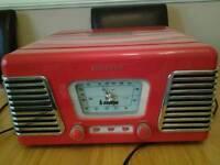 Steepletone record playerwith am fm radio.