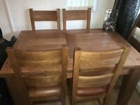 Real Oakwood extendable table and chairs!