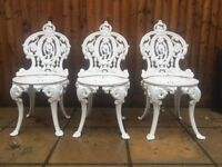 Vintage cast iron garden chairs furniture set of 3 white possibly Victorian