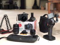 Canon 70D Kit   3x Lenses   3x Batteries   Battery Grip   Dji Osmo Mobile   Gorilla Tripod