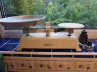 vintage cast iron kitchen scales with modern metric weights