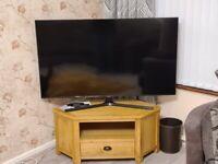 Oak effect TV corner unit