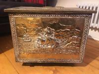 Antique Brass Box and Newspaper Rack