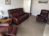 Brown leather three piece recliner suite