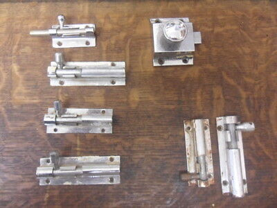 5+2 art deco style chrome sliding door bolts well used furniture latch lock 22K