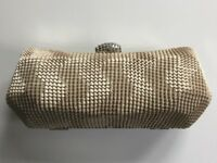 NEW Unused Gold Ladies Clutch Handbag, Diamante clasp, Occasion wear, Wedding, Evening, Prom wear