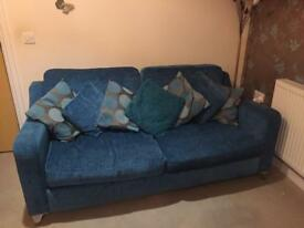 3 seater sofa with 7 cushions