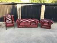 Stunning leather Chesterfield sofa, club chair and wing chair