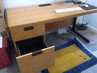 Sturdy iron frame pine desk