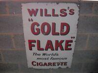 WILLS's GOLD FLAKE CIGARETTE ENAMEL ADVERTISING SIGN