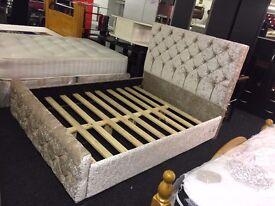 Galaxy Crushed Velvet**Fabric Upholstered Bed Frame** 4'6ft Double, 5ft kingsize