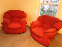 2 x Lounge Arm Chairs in Fabric, & Folding table and 2 chairs