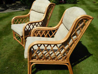 Pair cane armchairs in very good condition