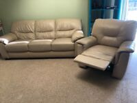 Tan/ beige leather three seater sofa and recliner armchair