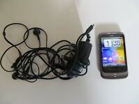 A NICE CLASSIC HTC WILDFIRE A3333 SMART MOBILE PHONE WITH CHARGER ,MINT