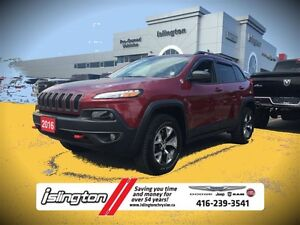 2016 Jeep Cherokee TRAILHAWK - 4x4, 3.2L V6 w/ LEATHER INT, REMO