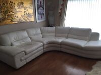 White Leather Corner Sofa W2800x2500 D1000 H800 and Chair. Purchased c.2011 for £ 4000.