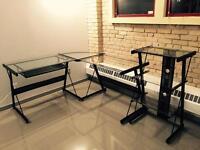 Modern Glass/black metal desk with shelving unit
