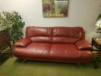 Harveys red large leather 3 seater sofa. (Quality low cost suites & sofas)
