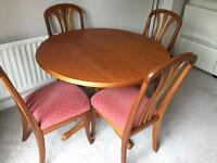 Sutcliffe Solid Wood Dining Table & 4 Chairs