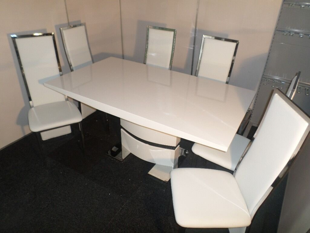 Komoro White High Gloss Dining Table - with 6 Celeste White Chairs ...