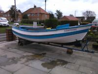 16 ft yourkshire pebble sea or river boat trailer and outboard