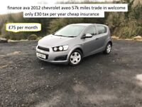 finance ava 2012 chevrolet aveo 1.2 57k miles £30 tax trade in welcome